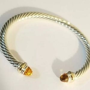 David Yurman SS 14k Gold, Cable 5mm Citrine Bracel